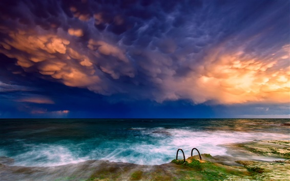Обои Море, побережье, небо, облака, солнце
