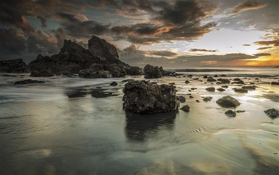 Wallpaper Sea, rocks, beach, sky, clouds, morning