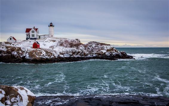 Wallpaper Sea, snow, winter, coast, house, lighthouse