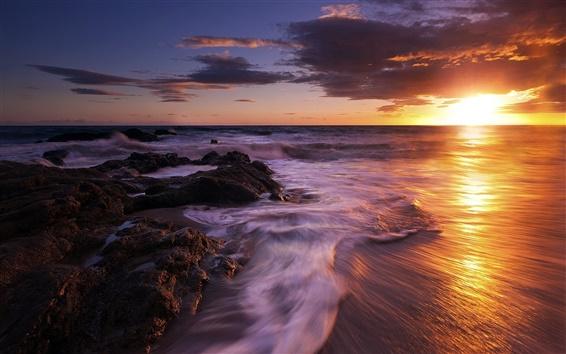 Wallpaper Sea, sunset, waves