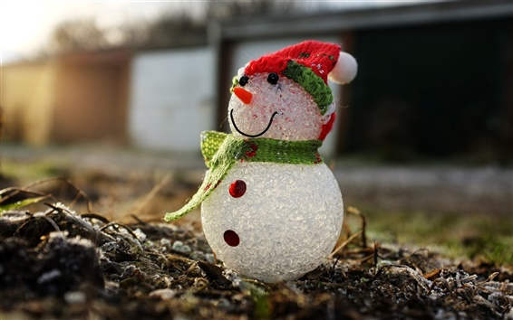 Wallpaper Snowman, macro photography, toy