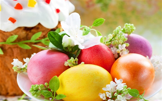 Wallpaper Spring, Easter, eggs, colorful, flowers, cake