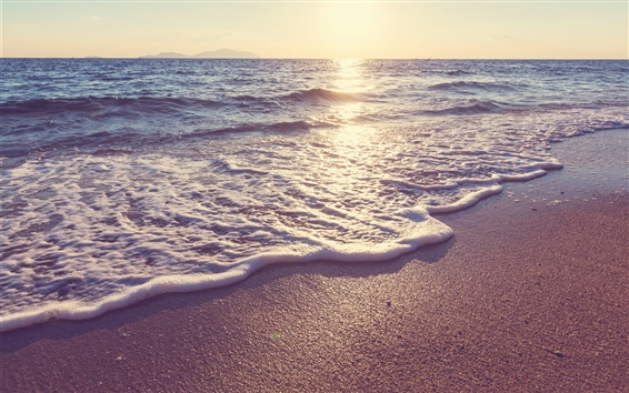 Wallpaper Sunset, beach, sea, coast, waves