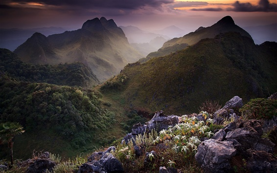 Wallpaper Thailand nature landscape, mountains, clouds, dusk