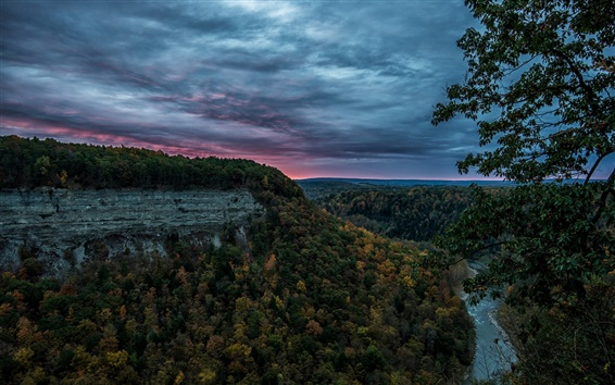 Wallpaper United States, Letchworth State Park, canyon, forest, river, evening