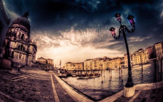 Wallpaper Venice, city, houses, dusk