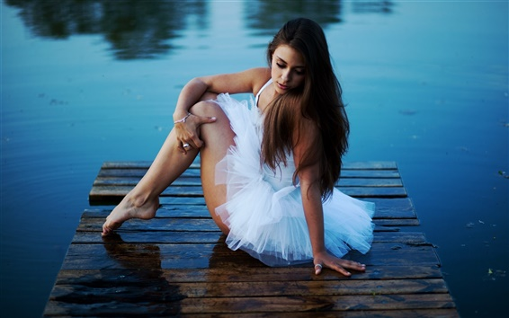 Wallpaper White dress girl, lake, pier