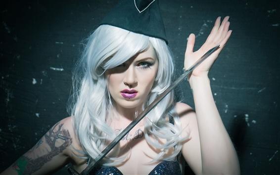Wallpaper White hair girl, cap, sword