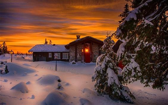 Fond d'écran Hiver, neige, froid, nuit, maison, lumières, arbres
