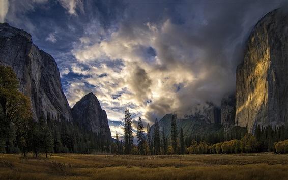 Wallpaper Yosemite National Park, Sierra Nevada, USA, mountains, trees, clouds