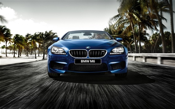 Wallpaper 2015 BMW M6 F12 Cabrio blue car front view