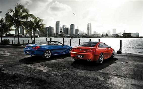 Обои 2015 BMW M6 купе, оранжевый синий автомобили