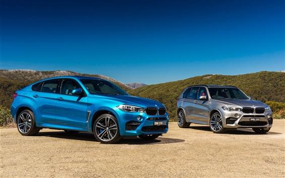 Papéis de Parede 2015 BMW X6 M, X5 M, carros de prata azul