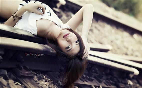 Papéis de Parede Asiático, menina, ferroviária