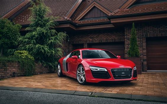 Обои Audi R8 красный автомобиль, дом, гараж