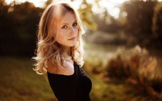 Wallpaper Blonde girl, glare
