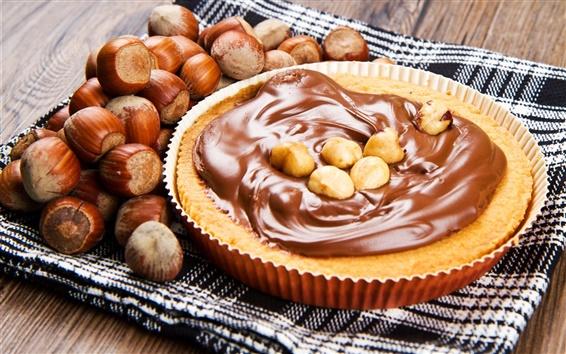 Fond d'écran Gâteau, chocolat, crème, les noix, les noisettes