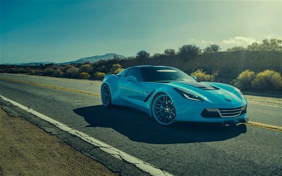 Wallpaper Chevrolet Corvette C7 Stingray blue car