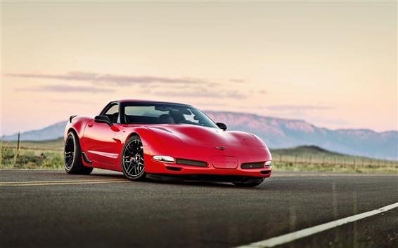 Papéis de Parede Chevrolet Corvette supercar vermelho, estrada