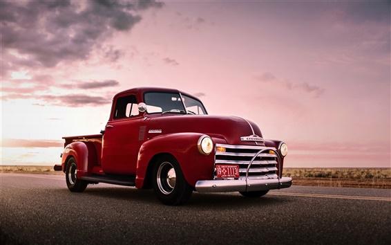 Обои Chevrolet, красный пикап, ретро, старый автомобиль