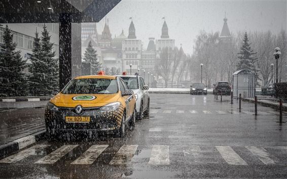 Wallpaper City landscape, Moscow, taxis, snow, street