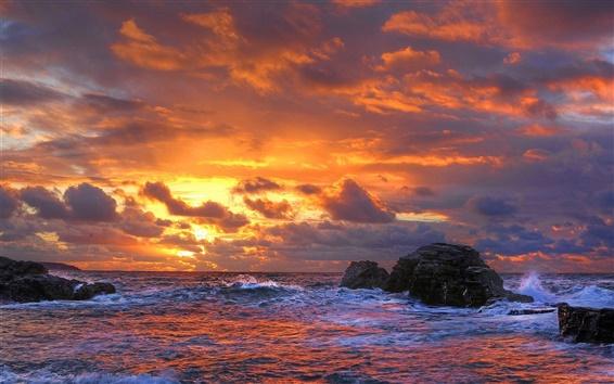 Обои Облака, камни, море, закат