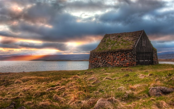 Wallpaper Clouds, sunset, lake, lodge, grass