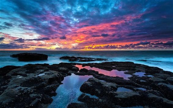 Wallpaper Coast, stones, sea, sky, clouds, sunset