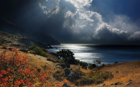 Wallpaper Crimea, Black sea, coast, mountains, stones, clouds, dusk