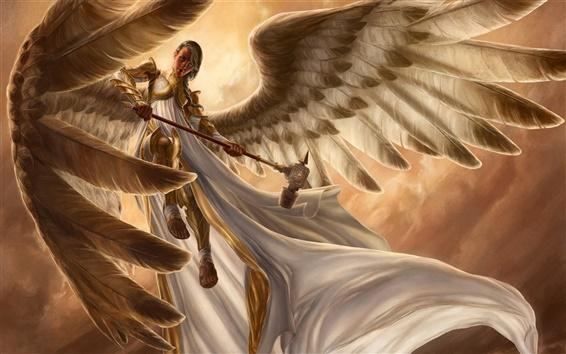 Fond d'écran Fantastique fille, ange, armures, des ailes, vol