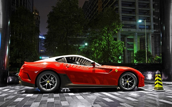 Wallpaper Ferrari 599 GTO red supercar, night, parking, city