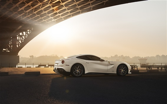 Wallpaper Ferrari F12 Berlinetta white supercar rear view