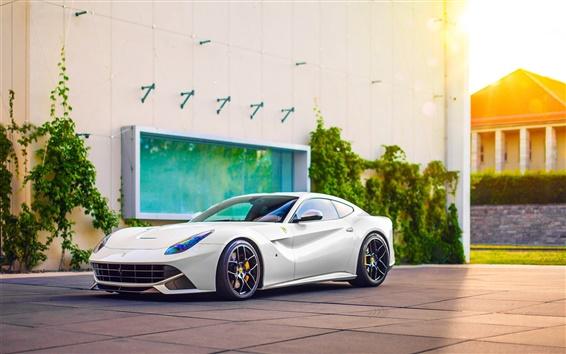 Wallpaper Ferrari F12 Berlinetta white supercar side view