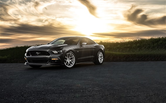 Wallpaper Ford Mustang 2015, black car, dusk