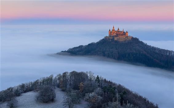 Fondos de pantalla Alemania, Castillo Hohenzollern, otoño, niebla, árboles