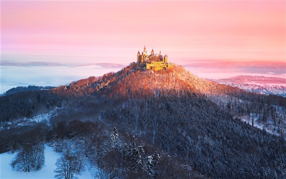 Wallpaper Germany, Castle Hohenzollern, morning, mountains, trees, winter, sun