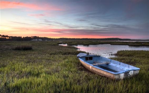 Wallpaper Grass, boat, lake, sunset