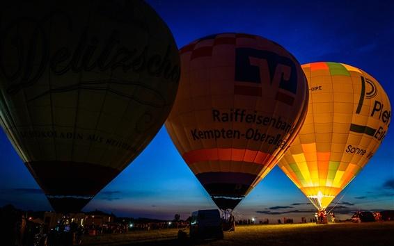 Wallpaper Hot balloon, night, lights, sky