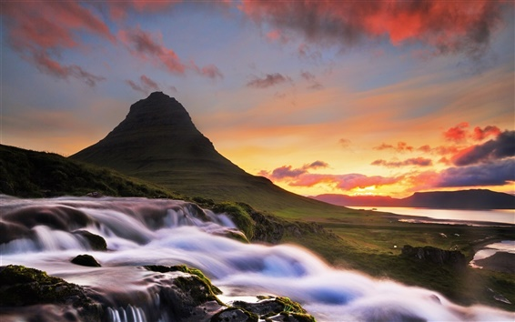 Обои Исландия, Kirkjufell, горы, водопад, утро, рассвет, облака
