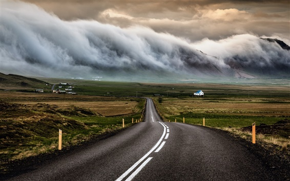 Wallpaper Iceland, road, houses, clouds