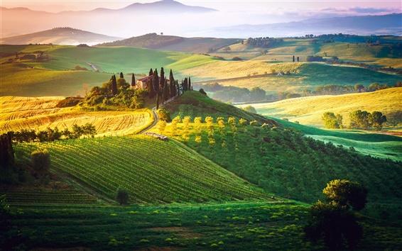 Fond d'écran Italie, Toscane, brouillard, ciel, champs, maison, manoir