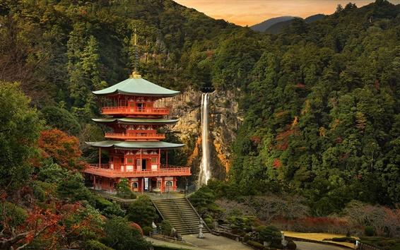 Обои Япония пейзаж, храм, гора, деревья, водопад