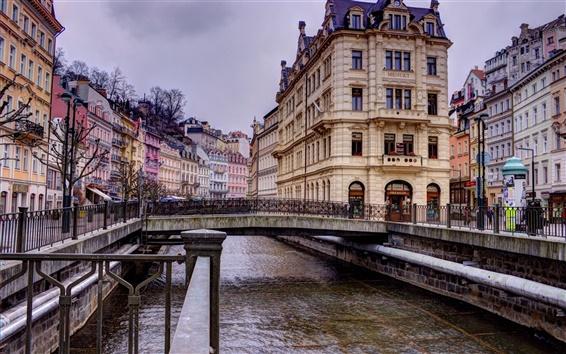 壁紙 カルロヴィヴァリ、チェコ共和国、家、橋、川、構成変更します