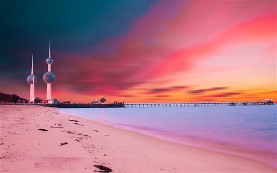 壁紙 クウェートタワーズ、日没、橋、ビーチ、海岸