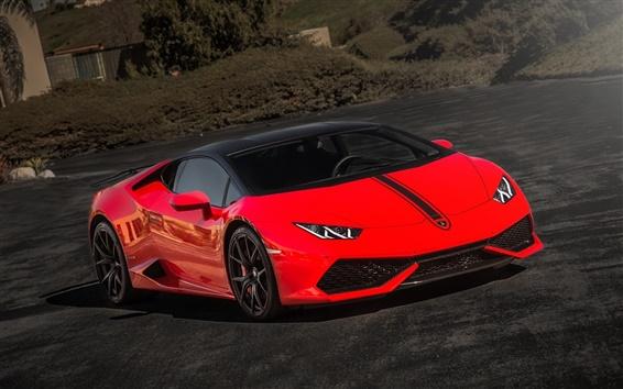 Wallpaper Lamborghini Huracan, red supercar