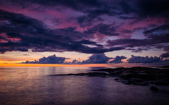 Papéis de Parede Lillesand, mar, nuvens, crepúsculo