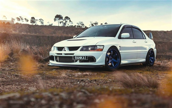 Wallpaper Mitsubishi Lancer Evolution 9 white car