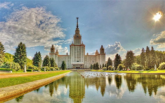 Wallpaper Moscow University, summer, water, pond, grass, trees