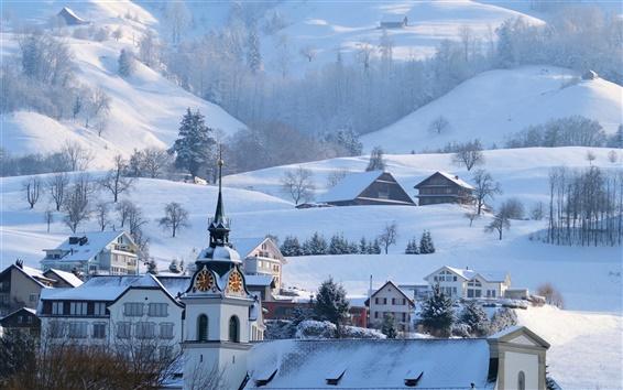 Wallpaper Mountains, Alps, winter, snow, town