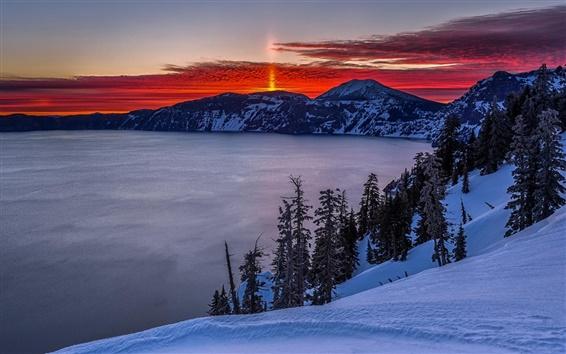 Fondos de pantalla Montañas, Lago Crater, amanecer, nieve, invierno, la salida del sol